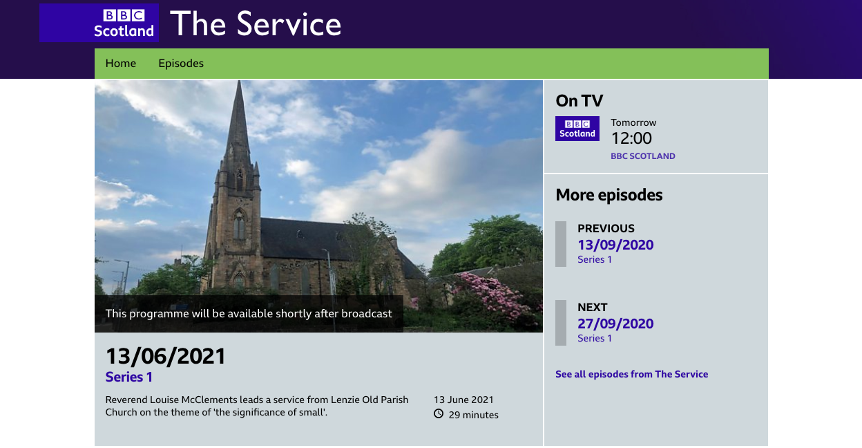 Sunday Service on BBC Scotland
